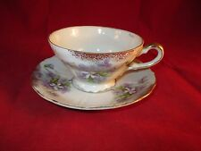 VINTAGE TEA CUP & SAUCER SET ENGLAND FINE BONE CHINA ALPINE PURPLE VIOLETS