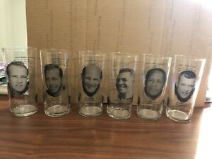LOT of 6/COMPLETE SET/GREEN BAY PACKERS/PIZZA HUT GLASS TUMBLERS/VINCE LOMBARDI+