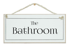 THE BATHROOM, ELEGANT SHABBY CHIC SIGN, HOUSEWARMING GIFT