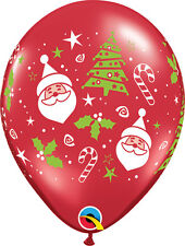 "CHRISTMAS PARTY SUPPLIES BALLOONS 10 x 11"" RED SANTAS & CHRISTMAS TREES BALLOONS"