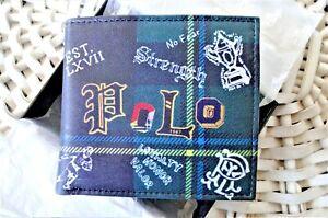 Men's Leather Wallet 'Polo Ralph Lauren' Bifold, Preppy Polo Tartan, MRP $80.00