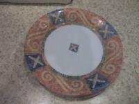 "2  Corelle Sand Art Salad Plates 7 1/4"" Geometric Blue Gold Green White"