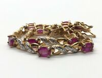 "Ross Simons Sterling Silver Bracelet 925 7.5"" Gold Tone Tennis Pink Topaz"