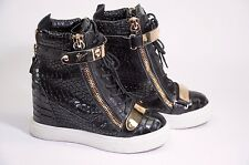 Giuseppe Zanotti Croco Leather Concealed Wedge High Top Sneakers Gold Strap 34