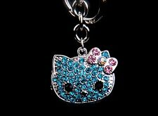 Cute Kitty Cat Keychain Purse Charm Silver Tone With Blue & Pink Rhinestone