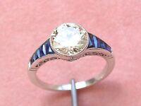 ESTATE DECO 1.84ct EUROPEAN DIAMOND SAPPHIRE PLATINUM ENGAGEMENT COCKTAIL RING