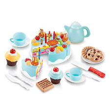 38Pc Pretend Role Play Kitchen Toy Birthday Cake Food Cutting Set Kids Blue  NT5