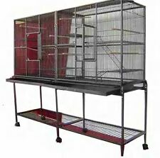 Large Double Small Animal Ferret Sugar Glider Wrought Iron Cage 0437 Black V-641