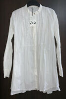 ZARA SS20 WHITE WRINKLE-EFFECT EMBROIDERED LONG POPLIN SHIRT TUNIC SIZE L BNWT