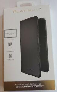 Platinum Genuine Leather Folio Wallet Case for Samsung Galaxy S9+ Plus - Black