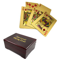 24k 99.9% Genuine Gold Plated Poker Playing Cards With Wooden Box 4 Christmas!