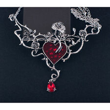 Alchemy Gothic Rose Blood Love Heart Red Crystal Pewter Beauty Necklace Pendant