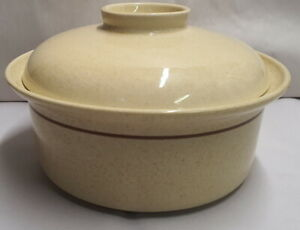 Vintage Crown Lynn New Zealand Pottery Cookware Round Oven Dish with lid c1970s