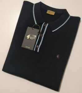 GABICCI VINTAGE Mens NAVY Knitted Polo Top