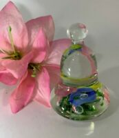 Vintage Joe St Clair Pink Yellow and Blue Flowers Green Leaves Bell Paperweight