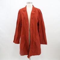Eileen Fisher Coat Jacket Womens XL Organic Cotton Open Front Rust Brown
