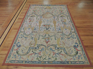 5x7 Elegant Oriental French Tapestry to hang floral & figure Aubusson design