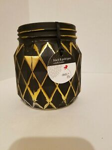 """Candle Holder Vase Debi Lilly Geometric Design  Black and Gold Fall Halloween 5"""""""