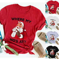 Christmas Womens Ladies Plus Size Print O Neck Short Sleeved T Shirt Blouse Tops