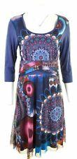 DESIGUAL Womens A-Line Dress Size 18 XL Blue Floral Viscose  MA16