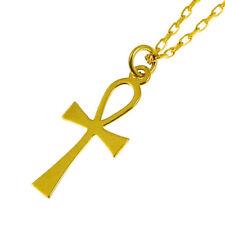 "18"" Diamond Cut Belcher Chain 9ct Gold Ankh Cross &"
