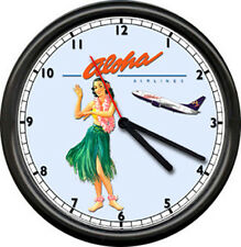 Aloha Airlines Hawaii Flight Attendant Airplane Pilot Hula Girl Sign Wall Clock