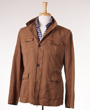 NWT $5950 KITON Tan Cotton Field Coat with Leather Trim 50/40 (M) Outer Jacket