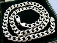 """Vintage Hallmarked Solid Sterling SILVER Heavy Chunky Chain 18"""" NECKLACE 48.63g"""