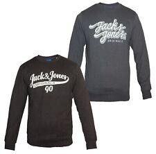 JACK & JONES New Men's Logo Sweatshirt Crew Neck Long Sleeve Black or Navy BNWT