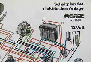 Schaltplan 12 V MZ ETZ 125/150/250/251/301 ab 1989 in Farbe, A3 Format!