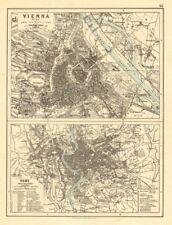 Vienna & ROMA. Città PIANI. WIEN. ROMA. Austria. l'Italia. Johnston 1899 OLD MAP