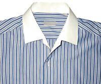 MINT STEFANO RICCI BLUE WHITE STRIPE HANDMADE CASUAL DRESS SHIRT EU 44 17.5