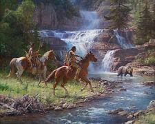 """Encounter at the Falls"" Martin Grelle Grande Edition Fine Art 40"" Giclee Canvas"