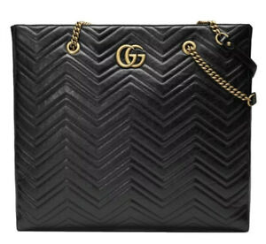 NEW WITH TAGS 100% AUTH GUCCI GG MARMONT MATELASSE LARGE LEATHER TOTE BAG