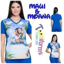New Cherokee Tooniform Women's V-Neck Moana Print Scrub Top Tf627 Mhmm Xs-Xl