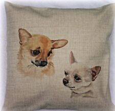 CHIHUAHUA DOG NEW DESIGN LINEN FEEL CUSHION COVER SANDRA COEN ARTIST PRINT