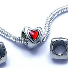 3 Silver and Red Enamel Heart Double Sided Large 5mm Hole European Charm Beads