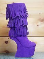 Mona Mia Floramada Purple Fringe Knee High Heel Less Wedge Boot Shoe Size 5