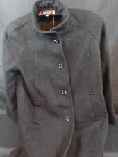 KOMITOR BLACK WOOL FULL LENGTH COAT SIZE 16 MADE IN THE USA. HG1