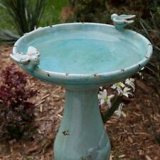 24in Bird Bath Ceramic Antique Outdoor Birdbath Garden Patio Lawn Backyard Decor