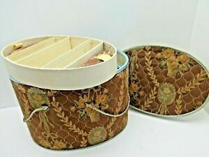 """Vintage  Oval 11""""x7""""x7"""" Quilted Fabric Cardboard Sewing Box with Insert Tray"""