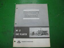 Massey Ferguson Mf37 Mf 37 Unit Planter Operators Manual Book Nos