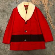 VINTAGE WOOLRICH HEAVY SHEARLING RED BLANKET PACKET COAT SIZE 46 HUDSON BAY USA