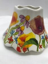"""Yankee Candle Flower Garden Themed Jar Topper Shade 2012 White W/Multicolor 6"""""""
