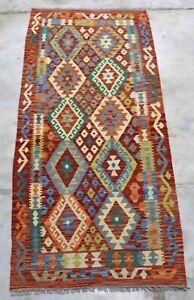 Afghan Kundoz Handmade Nomadic Tribal Red Multi Color Wool Kilim Runner 89x198cm