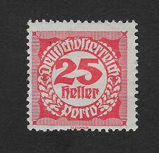 Austria 1920 Numerical Stamp Postage Due 25H Hinged (C1)