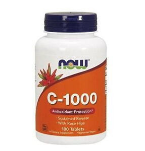 NOW FOODS Vitamin C-1000 with Rose Hips (Antioxidant) 100 Tablets FREE SHIPPING