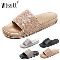 Women's Rhinestone Glitter Crystal Slide Footbed Rubber Platform Sandal Slippers