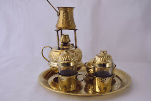 Maker Alcohol Burner Pot Copper 2 Cups Art Tray & Sugar Brass Turkish Coffee