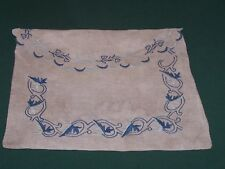 Fabulous Antique Homespun Fabric Blue Embroidered Garment Bag, Victorian, c1880